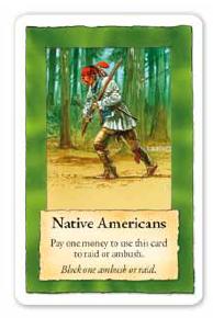 Gare aux indiens qui sont prompts à débusquer les troupes adverses (le tour vert indique que la carte est accessible aux deux joueurs)