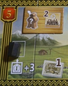 Case télégraphe : le joueur noir a eu droit à 4 parts du télégraphe (3+1) ; les suivants n'auront droit qu'à une seule. Tous peuvent déclencher l'effet : sacrifier un meeple pour retourner deux trains (ou deux fois le même)