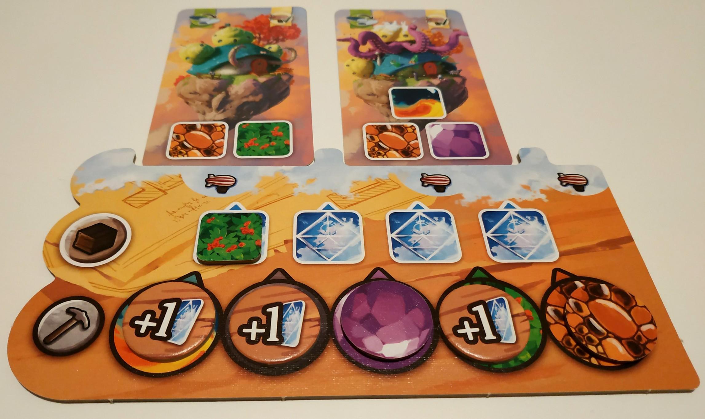Ici, le joueur peut produire maximum 3 occurrences des deux ressources visibles