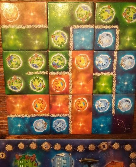Mon univers à moi qui marque 5 points en vert, 4 en orange, 6 en bleu et 2 en astéroïdes
