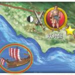 Le port de Rome et le symbole de ravitaillement (rond noir et blanc)