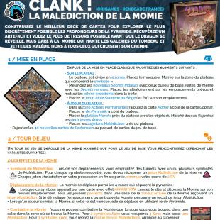 Règle express : fiche résumé Clank La Malédiction de la Momie